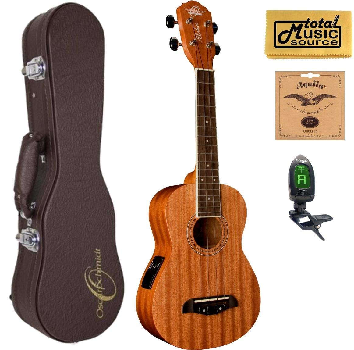 Oscar Schmidt Concert Active EQ, Acoustic Electric Ukulele, OU2E w/Hard Case,Tuner,Strings & PC
