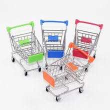 Мини-тележка из супермаркета, корзина для покупок, игрушка для хранения, ручка из нержавеющей стали, настольный держатель, аксессуары, цилин...(Китай)