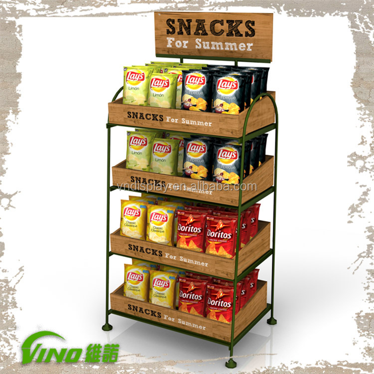 Custom Supermarket Display Rack Snacks Stand Rack Potato