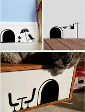 3d Funny cartoon mouse hole wall stickers for kids rooms home decals decorative 358 removable wall murals