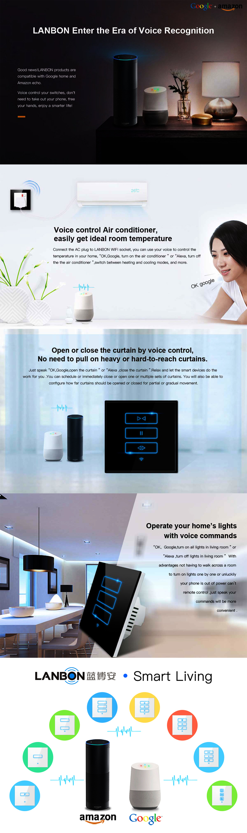 Lanbon Smart Wifi Switch Beyond Zigbee Home Automation Google Alexa 3 Way For Speaker Phone Controlled Light Gang 1 2