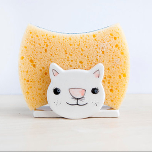 Ceramic sponge holder Cat Napkin holder Sponge dish Ceramics Kitchen decor