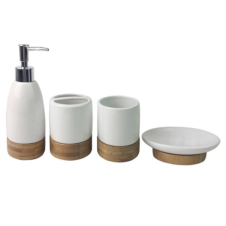 European Style Bamboo Ceramic Bathroom Accessories - Buy ...
