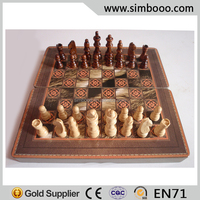 Antique Chess Game Play HDF Leather Chess Board Syriah Backgammon Board 39*19.5*4.5CM