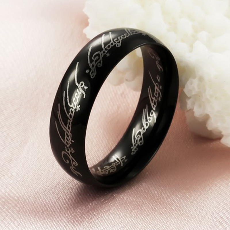 Lord of The Rings 316L Rvs Paar Wedding Ring Vergulde Band 6mm 8mm voor Mannen Vrouwen beste Sieraden Gift