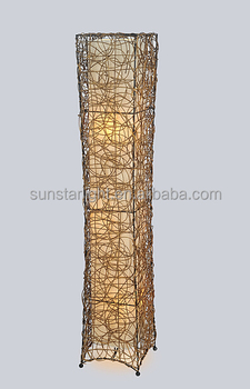 Square Rattan Garden Style Paper Home Decor Floor Lamp Led Floor Standing  Lamp/Light