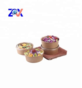 Accept custom printed disposable kraft paper salad bowl with lid
