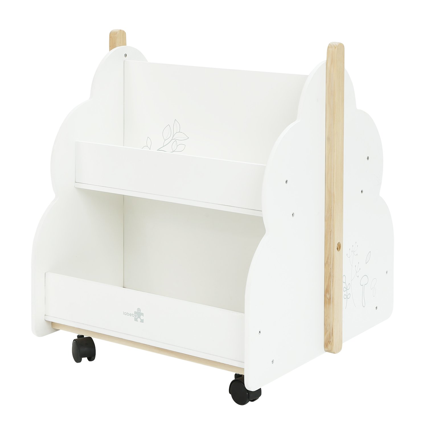 labebe Kid Bookshelf with Wheels, Wood Kid Bookshelf (White Bird Printed) for 1 Year Up, Book Rack/Kid Bookshelf/Child Bookshelf/Toddler Bookshelf/Child Book Display/Kid Small Bookshelf Toy Storage