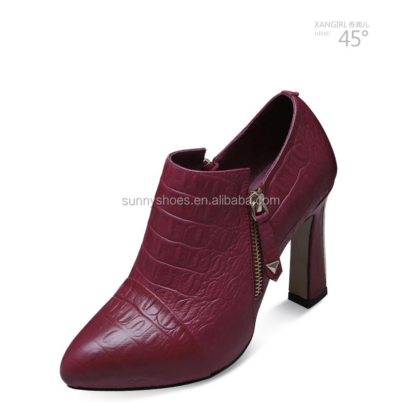 leather shoe pump heel toe chunky pointed Female women lady deep 85waznYxq