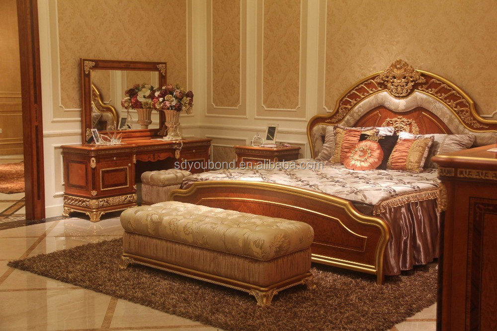 0062 Royal Luxury Bedroom Furniture,Golden Bed,Elegant Wood Carved ...