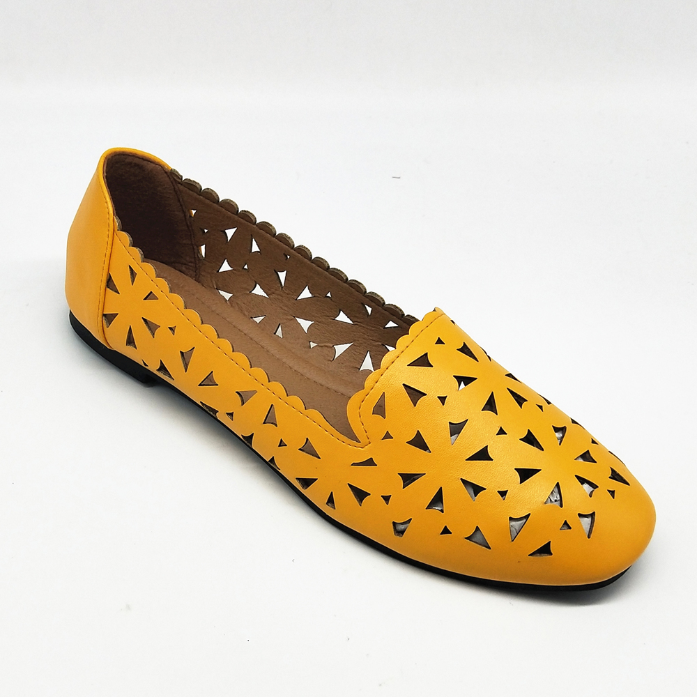 yellow different types flat women shoes 2017 casual shoes