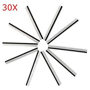 BephaMart 30 Pcs 40 Pin 2.54mm Single Row Pin Header Curved Needle For Arduino Shipped and Sold by BephaMart