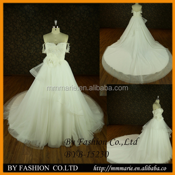 Queenbridal Customize Latest Meme Flower Cap Sleeve Tulle Hand Beaded Ballgown Wedding Dresses BYB 15230