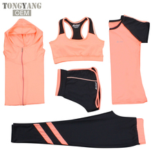 TONGYANG New Yoga Suits Women Gym Clothes Fitness Running Trayoga bcksuit Sports Bra+Sport Leggings+Yoga Shorts+Top 5 Piece Set
