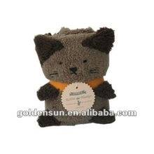 2012 new design brown baby blanket with cat