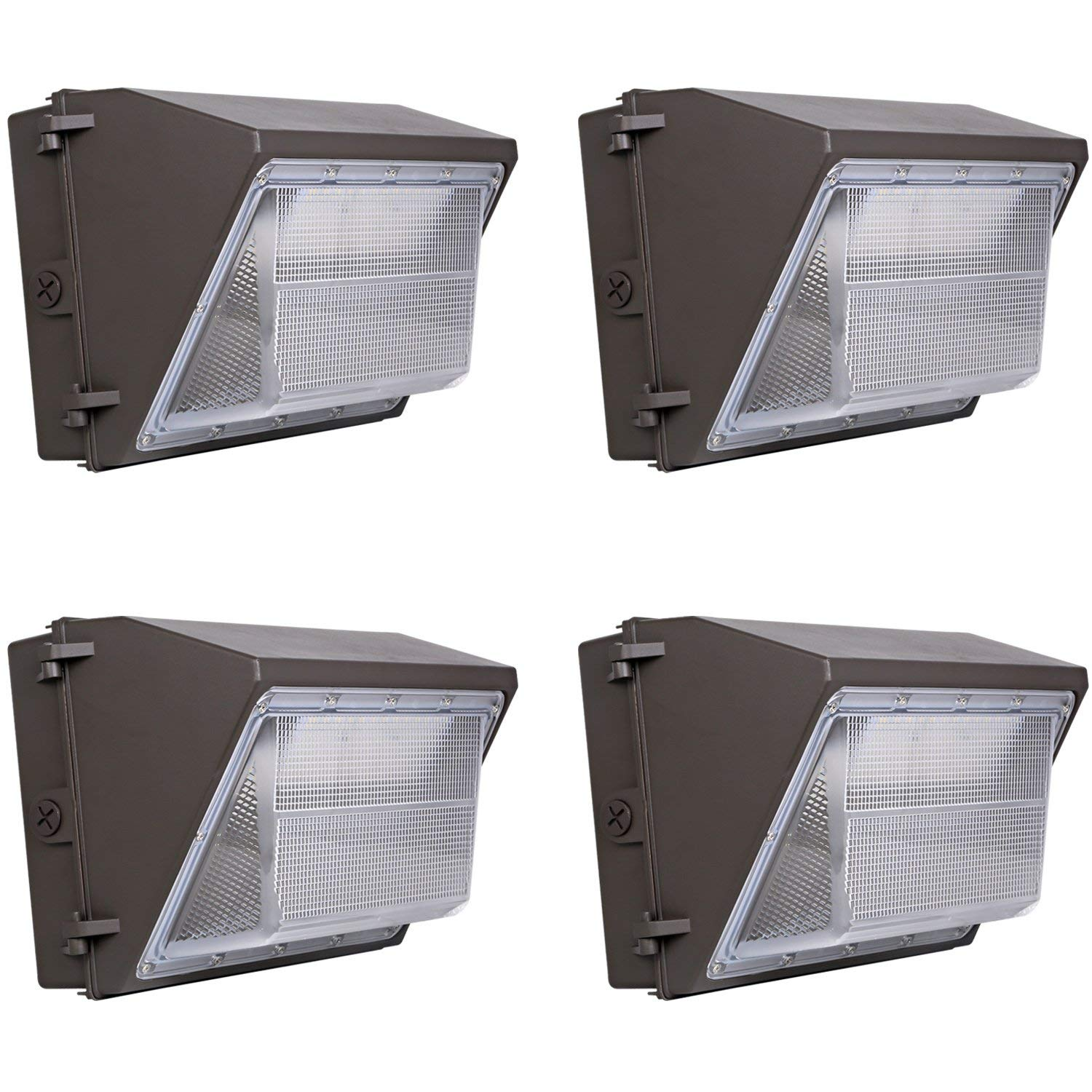 Hykolity 100W 11000lm LED Wall Pack Light, 0-10V Dimmable Outdoor LED Wall Packs, [750W MH/HPS Equivalent] Dusk to Dawn Photocell Optional, 5000K DLC Listed- 4 Pack