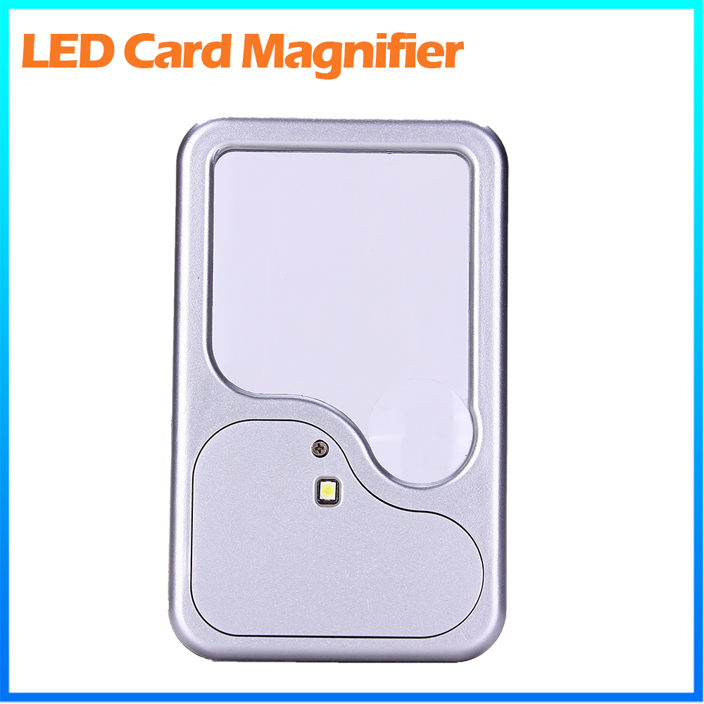 DH-82003 Fashion Antique Plastic 3X Magnifier Credit Card Size, Acrylic Lens Magnifying Glass With Led Illuminated Light