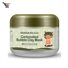 Hot selling deep cleansing pore cleaner carbonated oxygen warm facial bubble clay black mask
