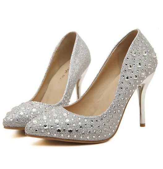 Fashion shallow mouth pointed toe crystal rhinestone gold silver shoes 2015 new women pumps size 35 36 37 38 39