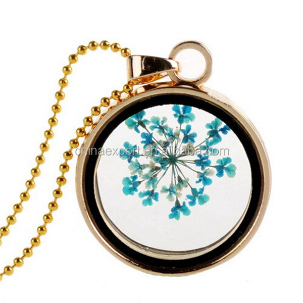 New trendy jewelry real dried Queen Anne's lace flower floating glass locket necklace