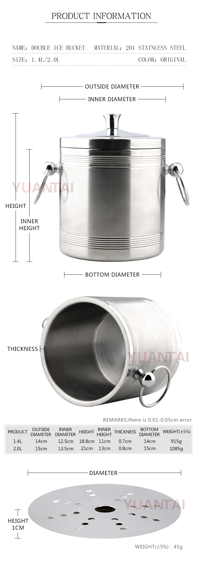 High quality stainless steel ice bucket and champagne bucket with double ears.