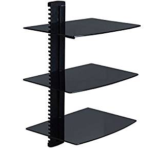 Manzoo Floating Shelves Wall Mounted Shelf With Strengthened Tempered Gl For Dvd Players Cable Bo