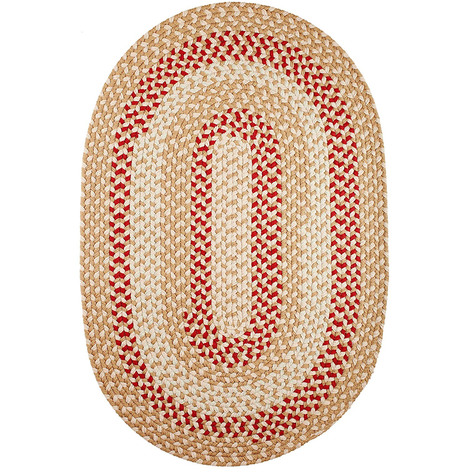 Super Area Rugs Homespun Braided Rug Indoor Outdoor Rug Textured Durable Neutral Patio Deck Carpet, 10' X 13' Oval
