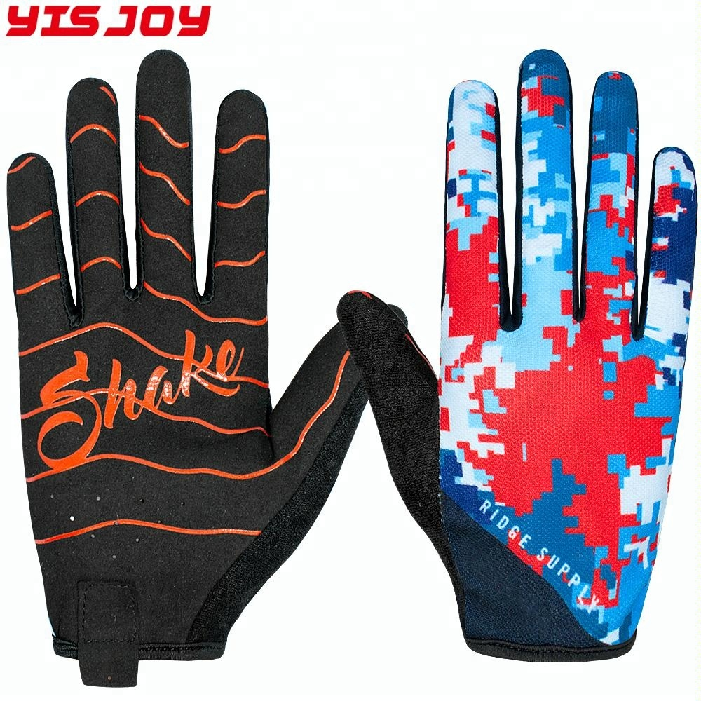 Yisjoy custom made sublimation print full finger mtb cycling bike riding gloves for mountain mx motorcycle motorbike racing
