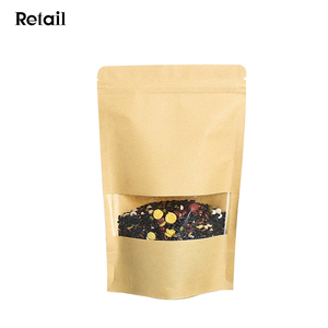 15x22+4CM Brown Paper Stand Up Seal Nut Dry Fruit Packaging Bag#