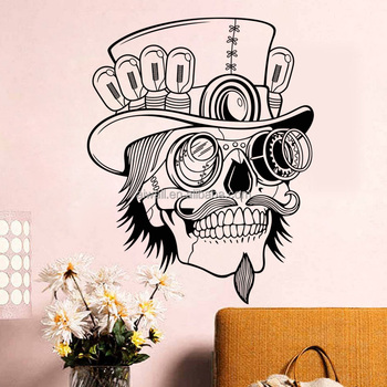 SS7 Skull Halloween Wall Stickers Cute Old Man Decals Home Decor