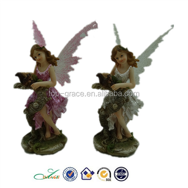Hot selling polyresin fairy figurine w. plastic wing