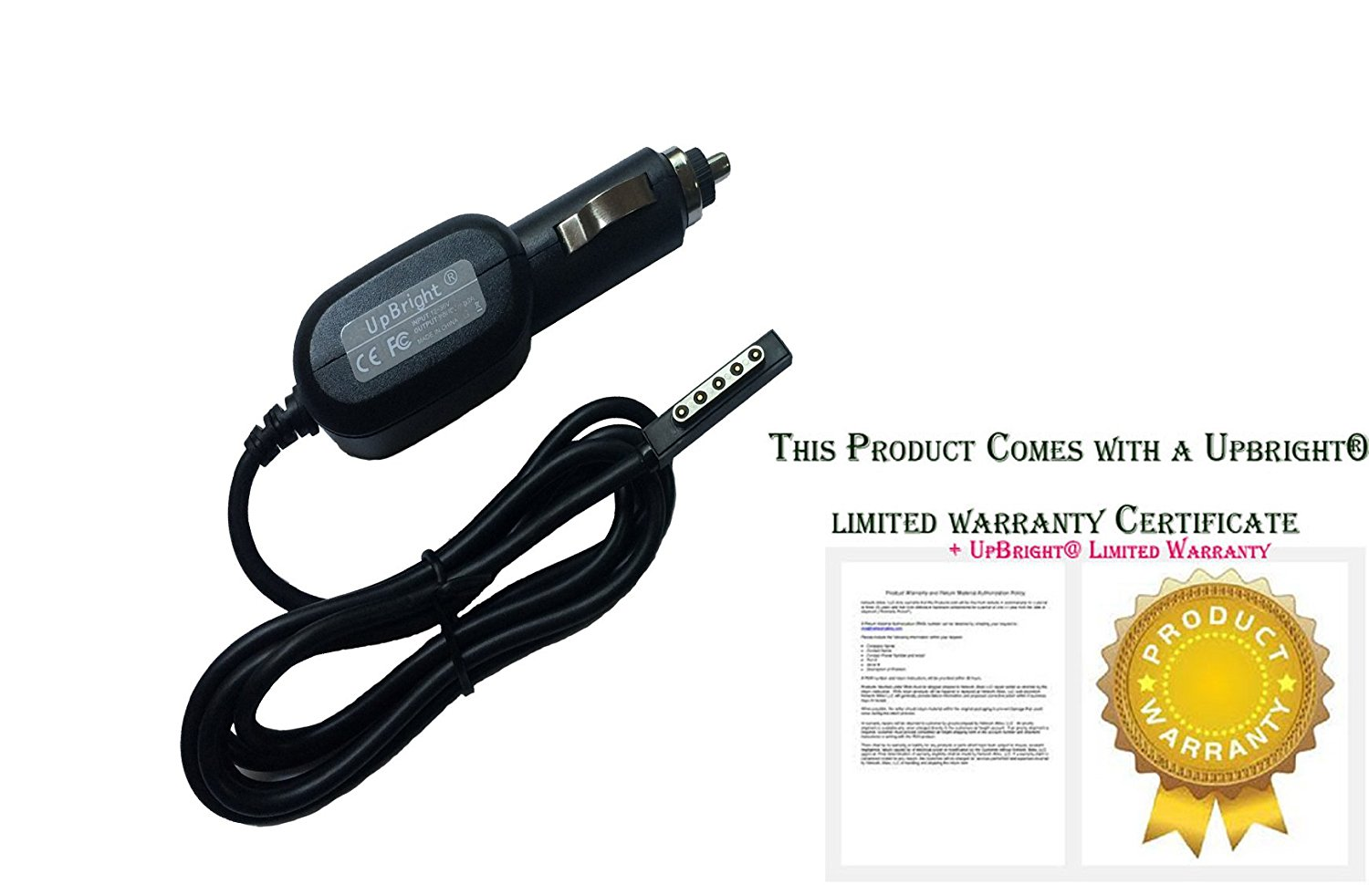 UpBright® NEW Car DC Adapter For Onite Microsoft Surface 10.6 RT Tablet PC, Onite Surface RT 10.6 Tablet Windows 8 12V 2A~4A Auto Vehicle Boat RV Cigarette Lighter Plug Power Supply Cord PS Battery Charger Cable PSU Output: 12V 3.6A