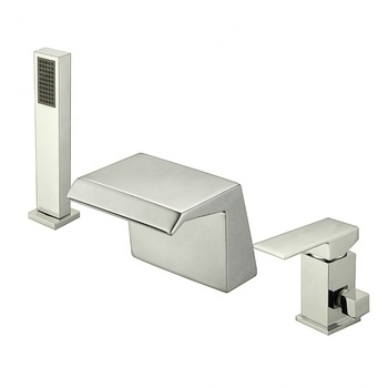 Deck mounted single lever 3 holes bathtub faucet with handheld shower
