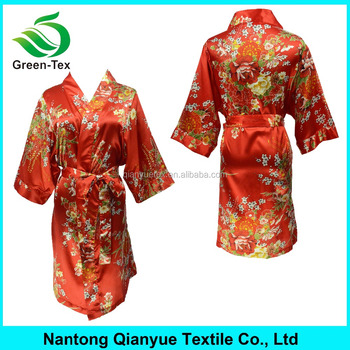 Personalized Red Women Satin Floral Kimono Robes - Buy Satin ... 187ccbfc3