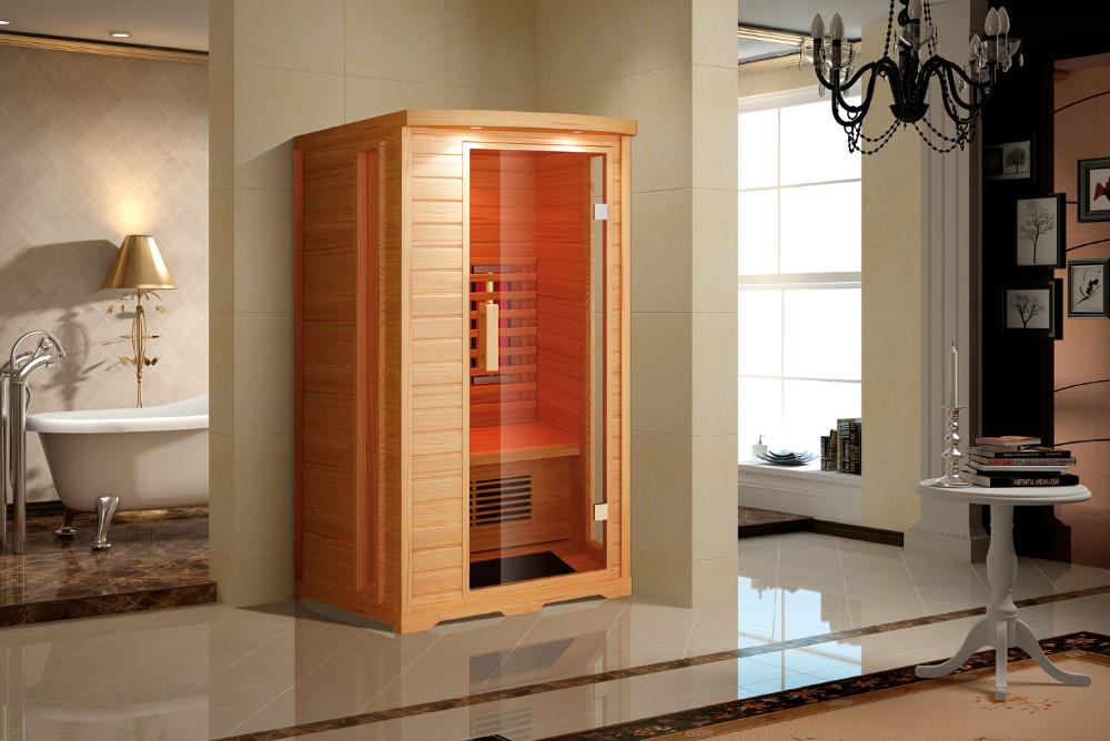 Cabina Sauna Vapor : Infrarrojos pequeño madera hemlock sauna función de vapor cabinas