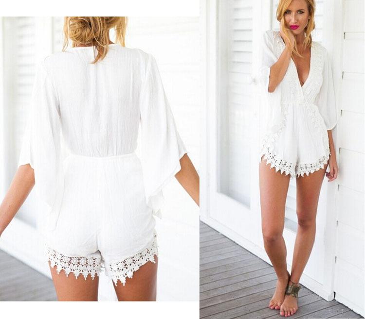 White Jumpsuit Shorts Fashion Ql