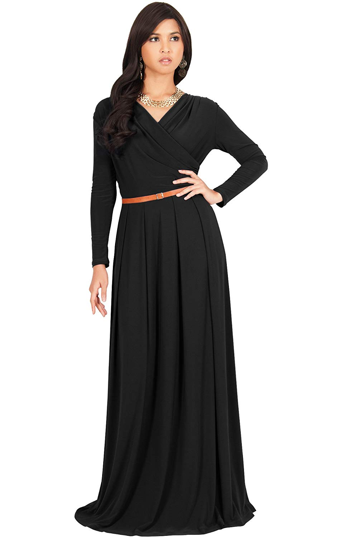 8aa7ad83b0e Get Quotations · KOH KOH Womens Long V-Neck Full Sleeve Semi Formal Flowy  Evening Cute Maxi Dress