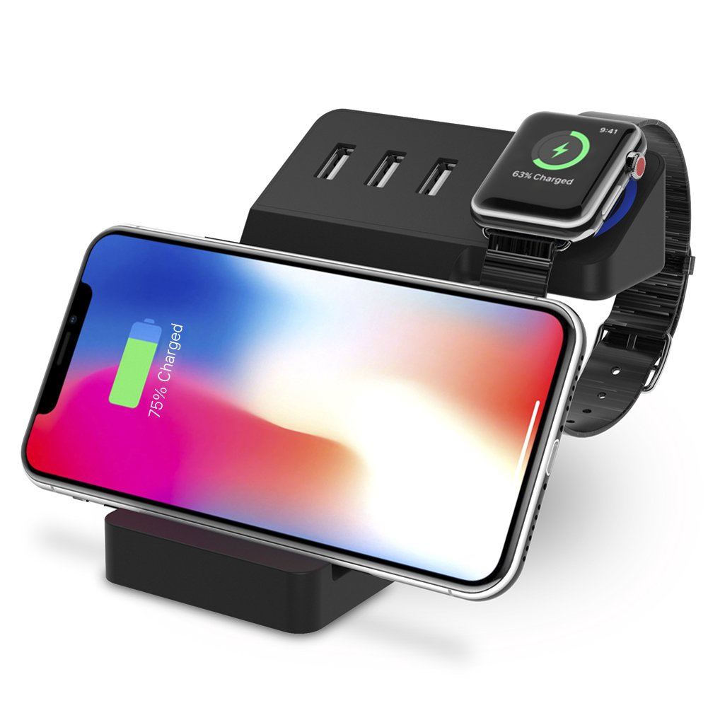 Apple Watch Stand UPWADE Universal Desktop Charging Stand with 3 Ports USB Charger and Qi Wireless Charging Pad Stand 3 in 1 Charging Station for iPhone 6 7 8 X Plus iWatch iPad Multiple Devices