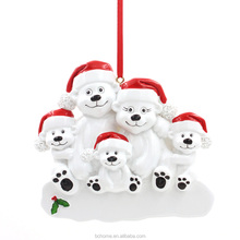 Personalize ornaments,Polarbear Family Of 4 Resin Personalized Christmas Tree Ornaments Wholesale