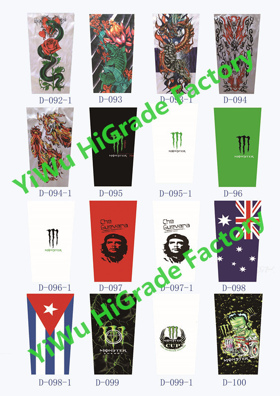 Free shipping wholesale cool nylon spandex arm sleeve tattoo
