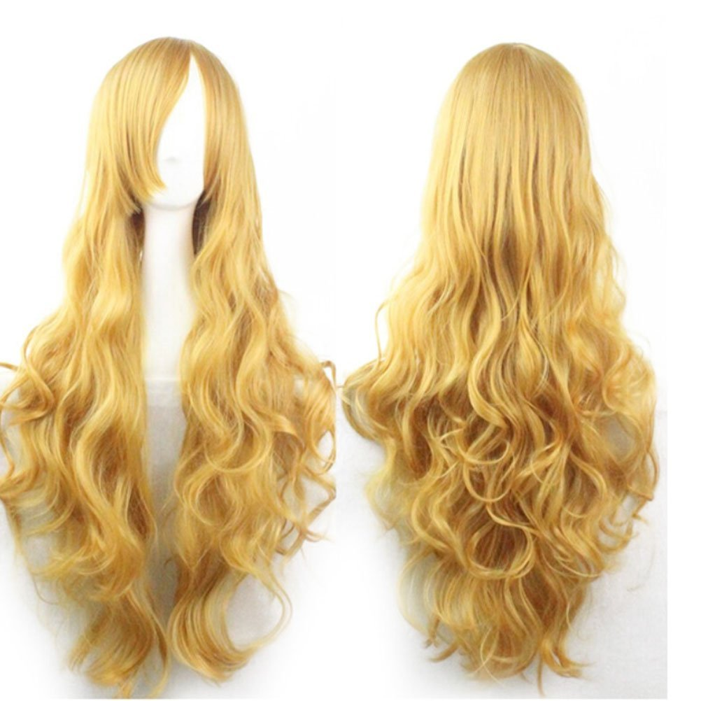 OULII Long Wavy Synthetic Fiber Wig with Bangs for Anime Cosplay Women Girls (Golden) - 80CM