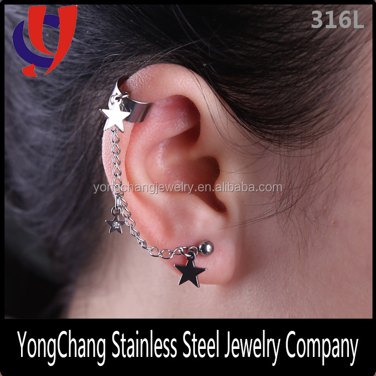Medical steel hot sales silver/black stars dangling cartilage cuff earrings stud