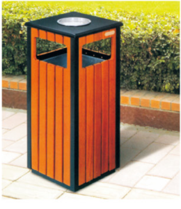 Tongxin gavin mild steel and recycled plastic wood outdoor dustbin with ashtray/outdoor ashtray bin