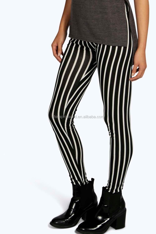 Beroemd Zwart Wit Gestreepte Broek Contrast Verticale Strip Print Leggings @CT79