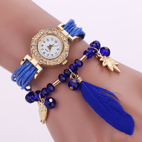 Hot sale Weave wrap Around Leather Bracelet watches Lady hand watch
