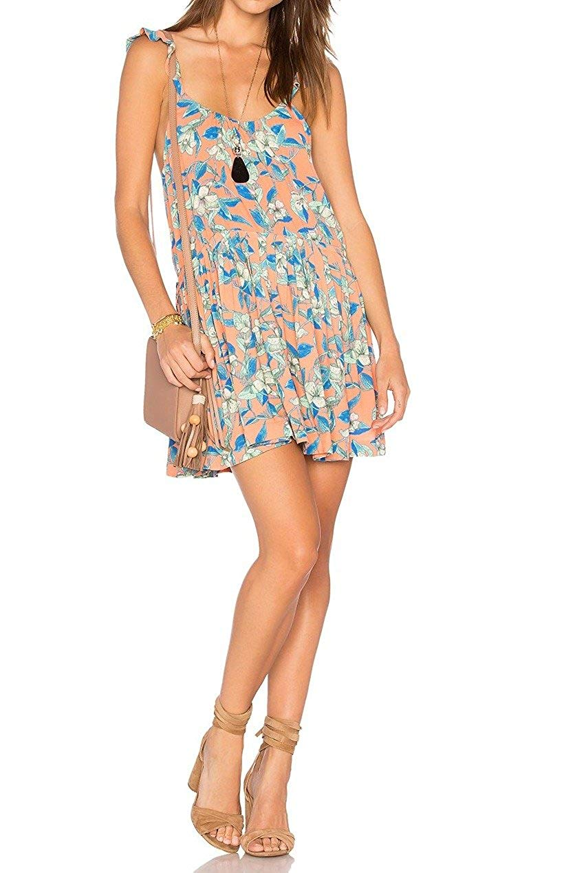 Free People Womens Dear You Floral Print Sleeveless Sundress Orange XS
