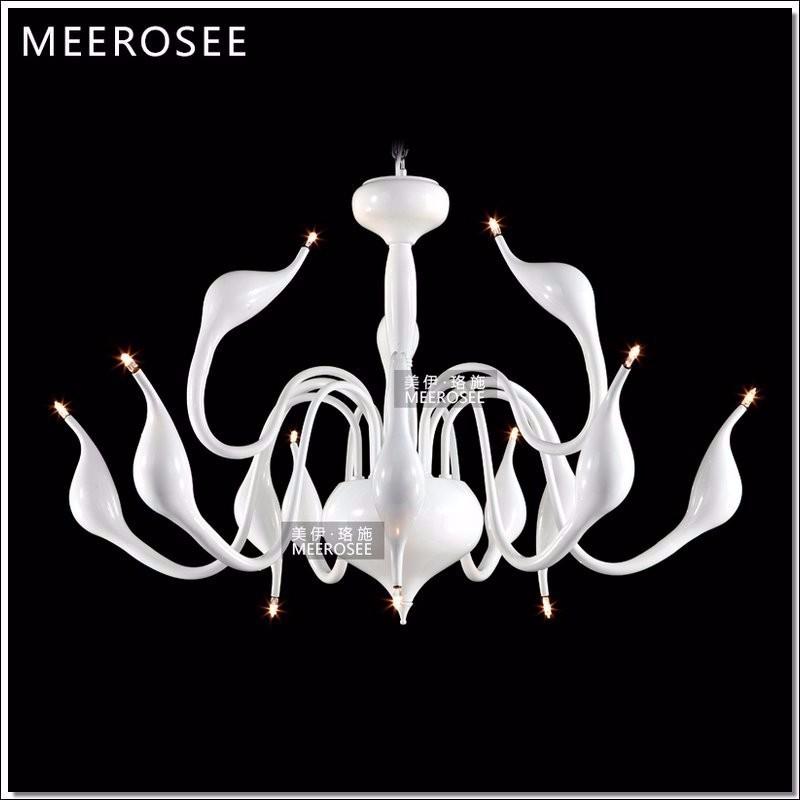 Modern White Swan Chandelier Light Fixture Lighting Fitting Black Romantic Hanging Suspension Drop Lamparas