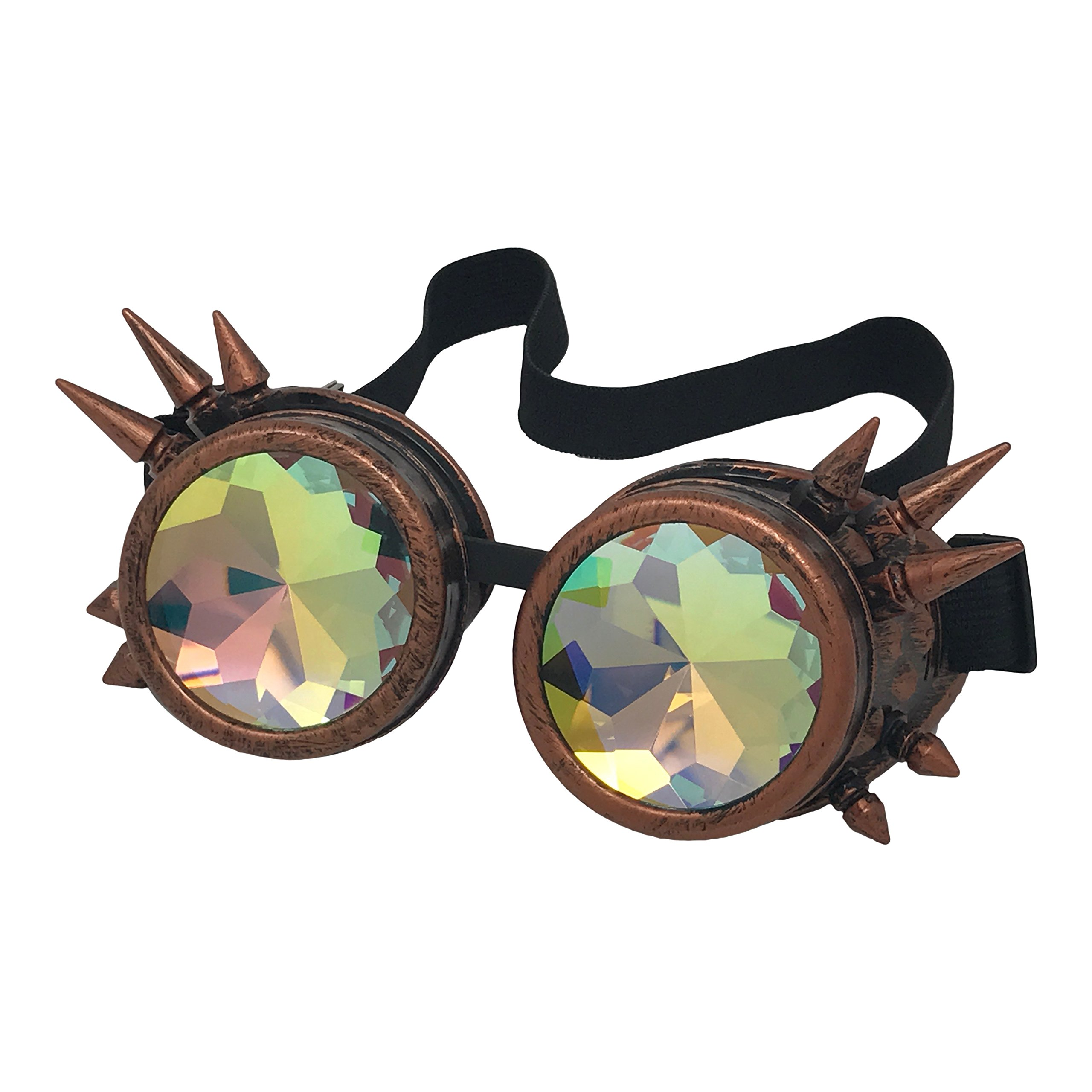Kurios Cabinet Steampunk Goggles - Red Copper Spiked & Kaleidoscope
