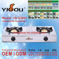 YG-G2001 butane gas cartridge stove with 2 3 4 5 6 burners stainless steel golden cooking range