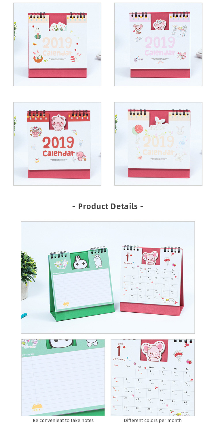 Fresh style promotion folding triangle desk calendar custom for students